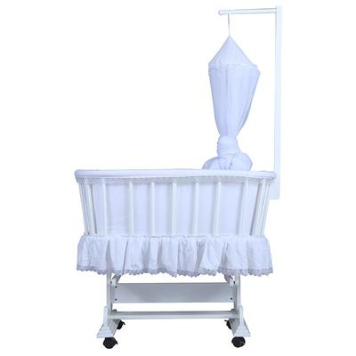 European style natural wood baby crib baby cot with mosquito net #CWC5418