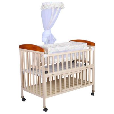 Unpainted solid wood Multi functional baby bed with swing cradle #CWC5446