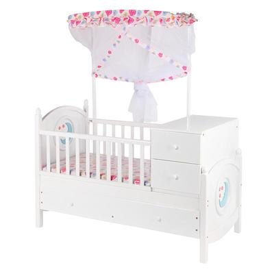European style modern wooden crib wooden baby bed with cabinet #MWC6012