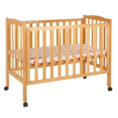 Multi functional wooden baby bed natural wood crib can connect with adult bed #MWC6004